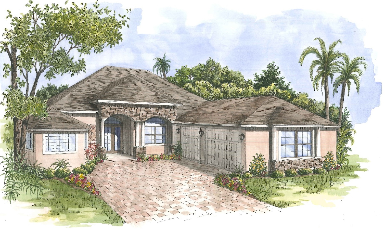 Harbor Hills Willow Model Front Elevation Rendering